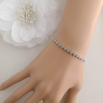 Minimal & Thin CZ Tennis Bracelet for Brides & Weddings- Lisa