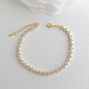 Thin & Slim Gold Tennis Bracelet with Cubic Zirconia - Lisa
