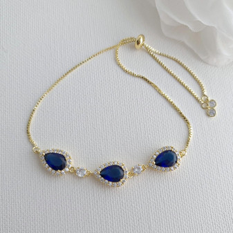 Simple Blue Bracelet in Gold for Weddings-Aoi