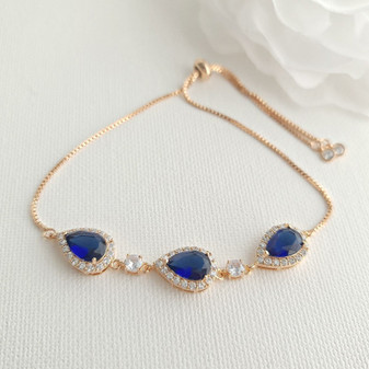 Bracelet in Sapphire Blue & Rose Gold for Bride & Bridesmaids-Aoi
