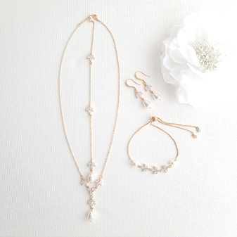 Jewellery Set for Brides in Simple Design- Rose Gold- Leila