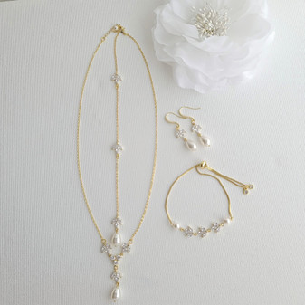 Wedding Necklace Set with Earrings & Bracelet-Gold- Leila