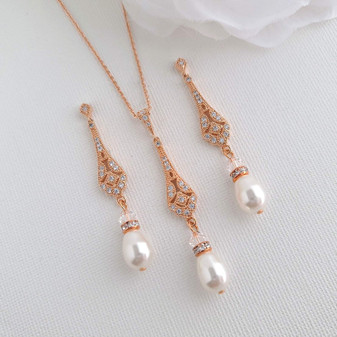 Vintage Necklace Earring Set in Rose Gold- Lisa
