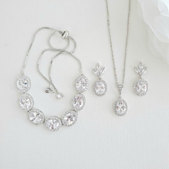 Oval Necklace Set With Matching Earrings & Bracelet- Emily