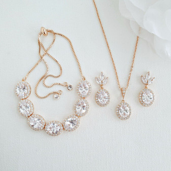 Oval Bridal Jewellery Set-Emily