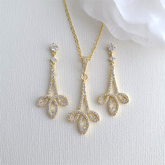 Gold Necklace Set for Wedding with Earrings-Allison