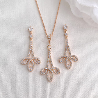 Modern Rose Gold Wedding Jewelry Set for Brides-Allison