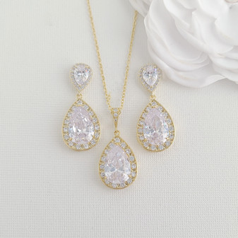 14K Gold Plated Wedding Jewellery Set for Brides- Evelyn