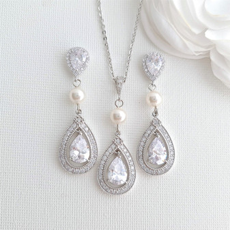 Bridal Necklace and Earring Set-Sarah