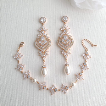 Bridal Statement Earrings and Bracelet Set- Rosa
