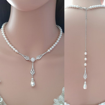 Pearl Backdrop Necklace-Lisa