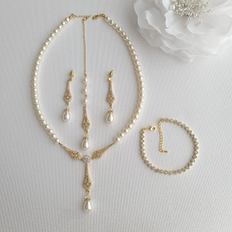 Gold Pearl Necklace and Earring Set with Bracelet for Wedding-Lisa