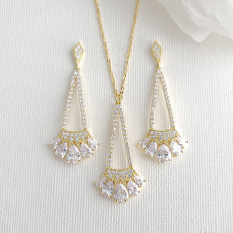 Bridal & Bridesmaids Pendant Necklace Set Gold- Poetry Designs