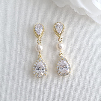 Gold and Pearl Earrings-Emma