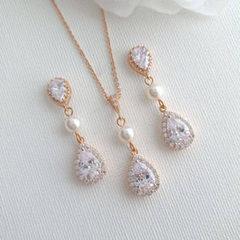 Jewellery Set in Rose Gold for Weddings- Emma