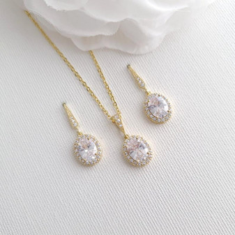 Bridal Party Jewellery Set Gold-Emily
