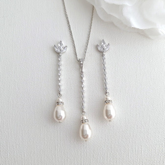 Long Pearl Drop Earrings and Necklace Set- Jodi