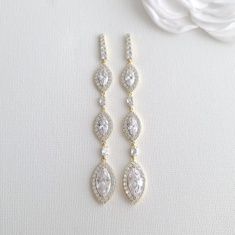 Extra Long Marquise CZ Earrings in Yellow Gold- Harriet