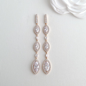 Extra Long Bridal Earrings in Rose Gold- Harriet