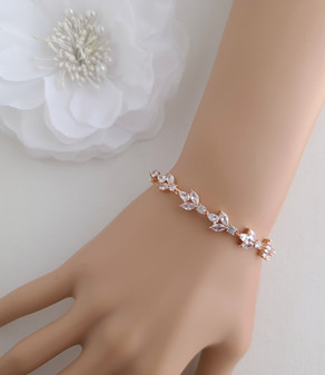 Rose Gold Bride Bracelet for Wedding Day-Anya