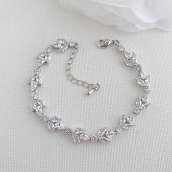 Bracelet for the Bride in CZ & Silver-Anya
