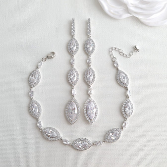 Jewellery Set with Long Drop Earrings and Bracelet- Harriet