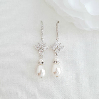 Bridal Dangle Earrings with Pearls & Crystals-Rosa