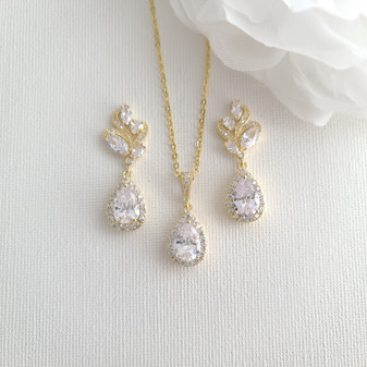 Gold Earrings and Necklace Set For Wedding-Wavy