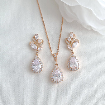 Rose Gold Jewelry Set For Wedding-Wavy