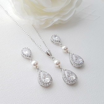 Drop Pearl and Crystal Earring and Necklace Set- Emma