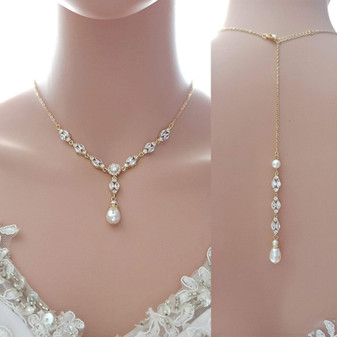 Gold Wedding Necklace With Backdrop in Pearls and Crystals-Hayley