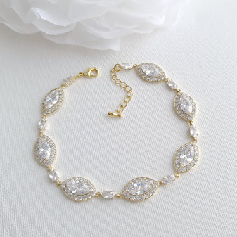 Wedding Gold Bracelet For Brides-Harriet