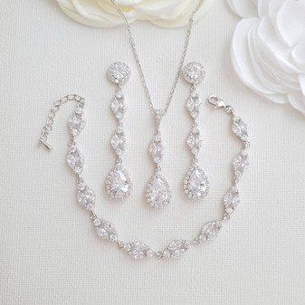 Long Earrings Drop Necklace & Bracelet Bridal Jewelry Set- Hayley