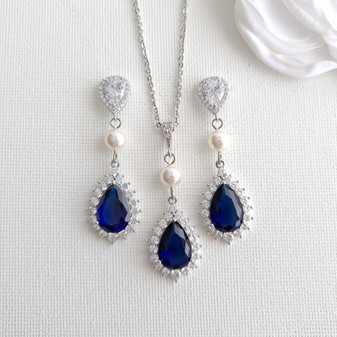Blue Bridal Jewelry Set-Aoi