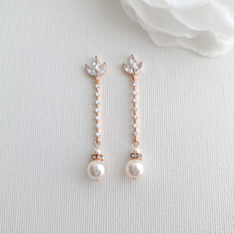 Skinny Long Pearl Drop Earrings in Rose Gold-Jodi
