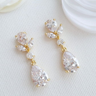 Dainty Wedding Earrings in Gold-Nicole