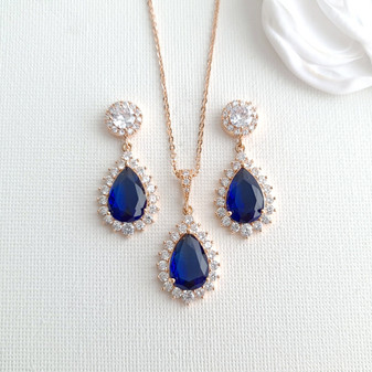 Blue Wedding Jewelry Set with Rose Gold-Aoi