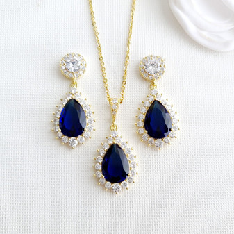 Blue Earrings Bracelet Necklace Set in Gold-Aoi