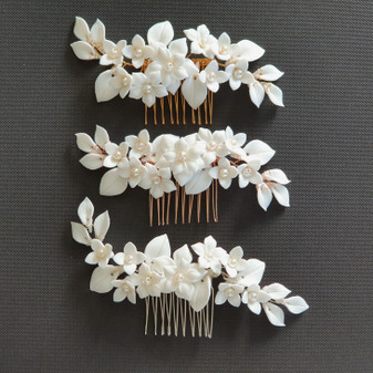 Flower Hair Comb for Brides-Snow Drops