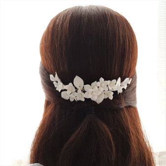 Floral Hair Comb For Brides in Rose Gold- Snow Drops