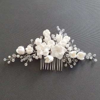 Flower and Crystal Bridal Hair Comb in Silver-Tulip