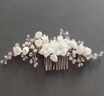 Gold Bridal Hair Comb with White Porcelain Flower & Crystal Beads-Tulip