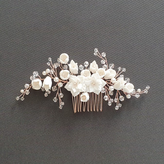 Rose Gold Hair Piece with White Ceramic Flowers-Tulip
