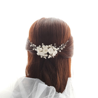 Pearl Bridal Hair Comb with White Flowers-Daphne