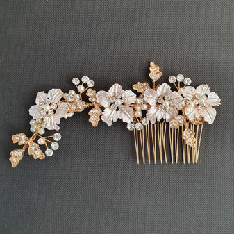 Gold Hair Comb for Weddings With Flowers and Leaves- Gardenia