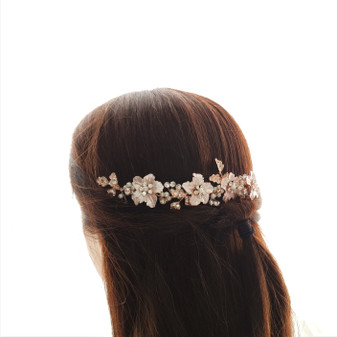 Rose Gold Hair Comb for Brides with Leaf and Flower-Gardenia
