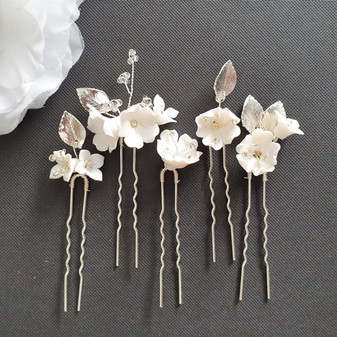 Bridal Hair Pins Set with White Flowers-Magnolia