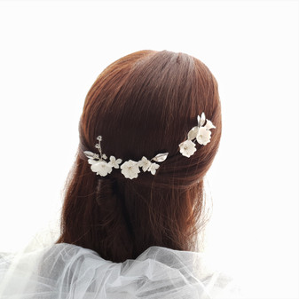 Gold Wedding Hair Pins with White Flowers-Magnolia