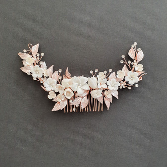 Rose Gold Hair Comb with White Flowers-Daffodil