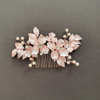Rose Gold Flower and Leaf Hair Comb for Weddings- Azalea